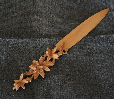Antique Black Forest Carved Swiss Flowers Paper Knife New Zealand Connection #16
