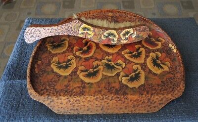 Art Deco Crumb Tray And Broom Both Pansy Decorated Poker Work #23