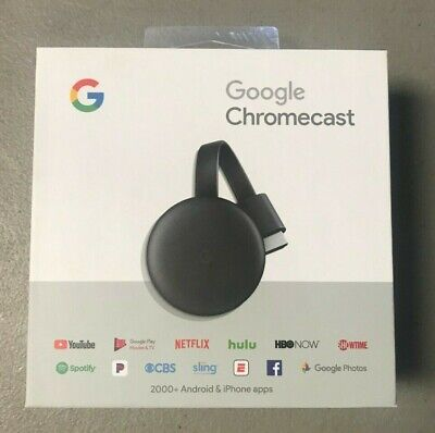 Google Chromecast 3rd Gen Digital HDMI Media Streaming Device Charcoal NEW