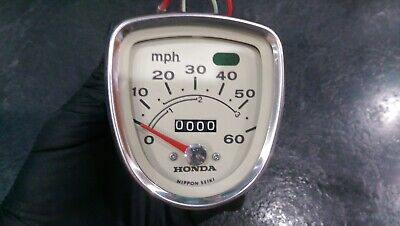 Honda C90 C70 C50 New Old Stock White Face Early Speedometer Free P&P NOS