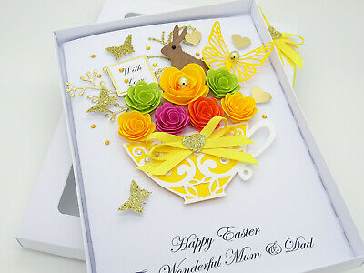 5 Easter Cards Bunny /& eggs w/'colour on pearl notelets env blank folded A6