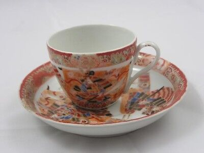 Antique Japanese Imari cup and saucer marked Hichozan Shinpo handpainted #2173