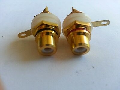RCA Panel Mount PURE Copper Gold Plated DIY audiophile -  1 Pair