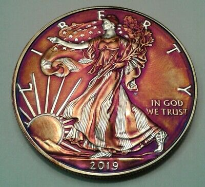 2019  american silver eagle  dollar with beautiful toning, TONED $ . Must see $