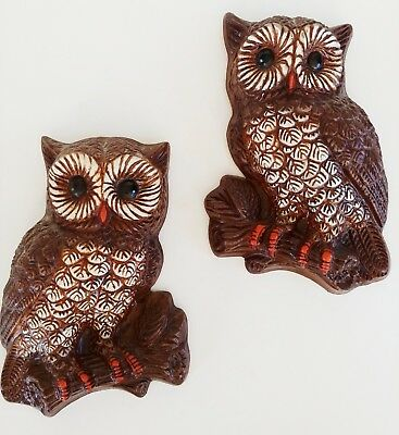 Mid Century Vintage Homco  Brown & Tan Owl Family Wall Art Plaque Set of 2