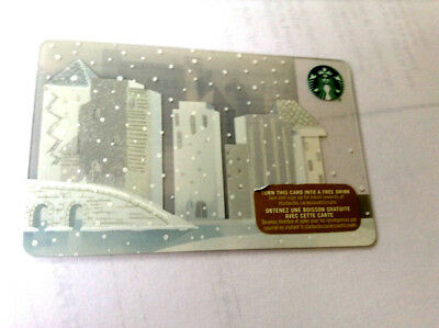 2015 Starbucks X-Mas Snow In City Gift Card No Value Mint Bilingual Rechargeable