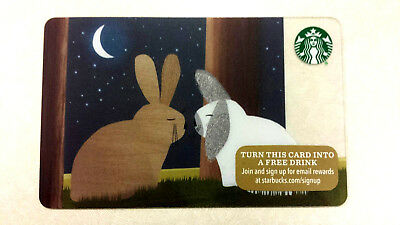 2015 Starbucks Bunny Rabbits Gift Card No Value Mint Bilingual Rechargeable