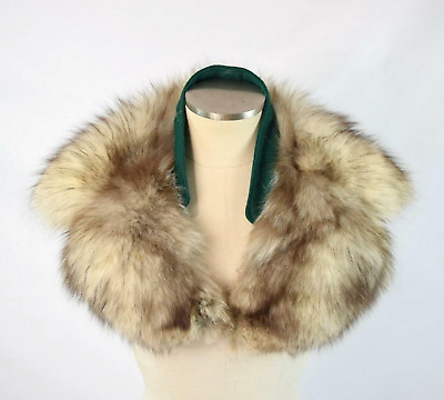 "Vtg 60s Genuine Fox Fur Collar Plush White & Brown Sew On Removable 8"" x 28"""