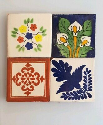 4 HAND PAINTED MEXICAN IMPORTED TALAVERA GLAZED TILES 10.5cm x 10.5cm, MIXED.