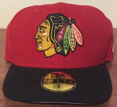 Chicago Blackhawks New Era 59Fifty NHL Hat Cap Fitted Size 7 55.8cm Red  Black 9a4b6aa97055
