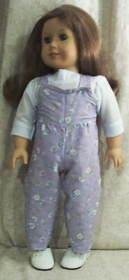 "Doll Clothes fit American Girl 18"" inch Overalls T-Shirt Flowers Lilac NEW"