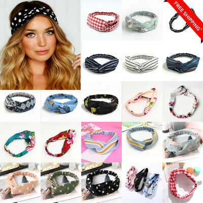 2Pcs Women Girl Twist Knot Pattern Headband Elastic Head Wrap Turban Hair Band