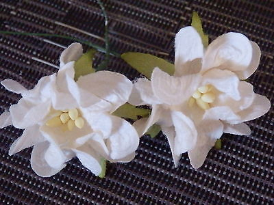 10x38mm WHITE Stemmed Paper GARDENIAS::: Decoration Wedding Hair Accessories