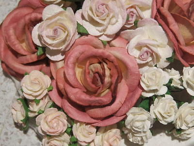 55 paper ROSES VINTAGE MIX ROXV:: Wedding Floral Table Cake Hair Decorations