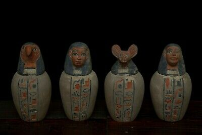 Ancient EGYPT EGYPTIAN ANTIQUES Statue Set of 4- Canopic Jars Carved Stone, BCE