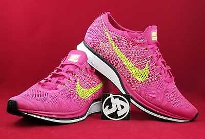 newest 2a808 4aef7 Nike Flyknit Racer Fireberry volt-Pink Running Shoes ( 526628 607 ) Size 10