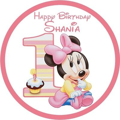 Enjoyable Baby Minnie Mouse Theme Edible Real Icing Birthday Cake Topper A4 Funny Birthday Cards Online Unhofree Goldxyz