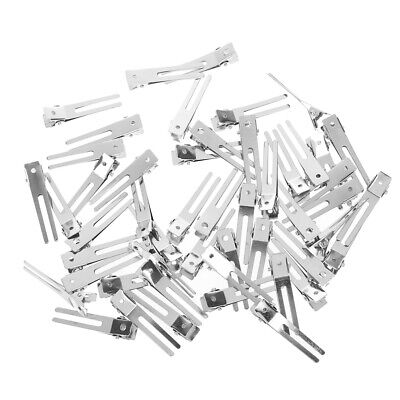 10/50Pcs double prong metal alligator grip clips hair bows silver hair pins FT