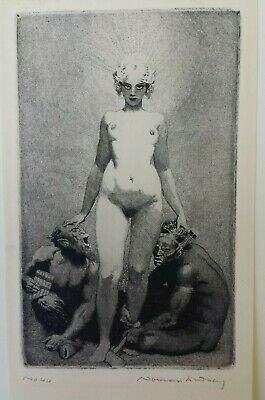 "Norman Lindsay original etching ""Creative Effort"" 1920, numbered and signed"