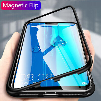 Magnetic Adsorption Metal Case Tempered Glass Cover For Samsung Galaxy S10 Plus