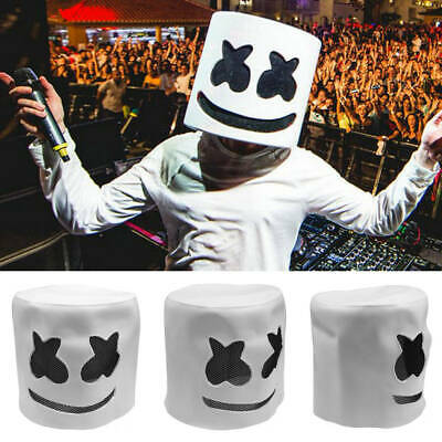 Marshmello DJ Mask Latex Full Head Costume Halloween Cosplay Party Props Masque