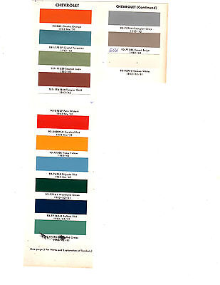 1950 1951 1952 To 1963 1964 1965 1966 1967 Chevrolet Truck Paint Chips 63 D14Pc3