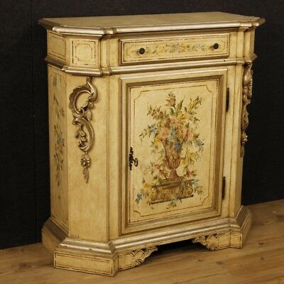 Sideboard lacquered Italian furniture painted wood antique style 1 door 1 drawer