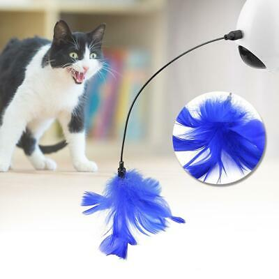 Pet Cat Wand Electric Rotating Feather Teaser Play Interactive Toy with Light RT
