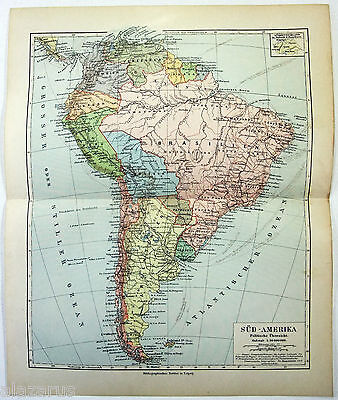 Original German Map of South America in 1900 by Meyers
