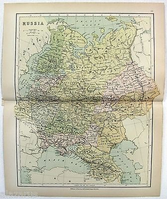 Original Map of Russia by Wm. Collins Sons & Co. c1875, Antique