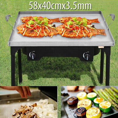 Flat Top Cooking Grill Hot Plate Griddle Outdoor BBQ Pan Stainless Steel Tray