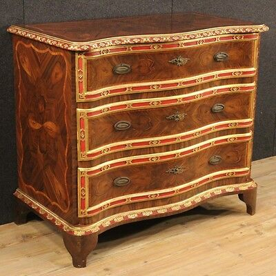 Dresser genovese inlaid 3 drawers furniture chest of antique style