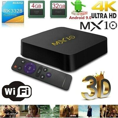 MX10 Android 9.0 Smart TV BOX 4GB+32GB Quad Core USB3.0 4K 2.4G WiFi HDR10 Media