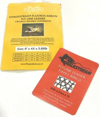 """""""CHALKSTREAM"""" FLUOROCARBON 9' Fly fishing line leader 5 sizes with TIPPET RINGS"""