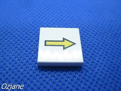 LEGO PART 3068BP08 TILE 2 X 2 WITH ARROW THIN YELLOW WITH BLACK BORDER