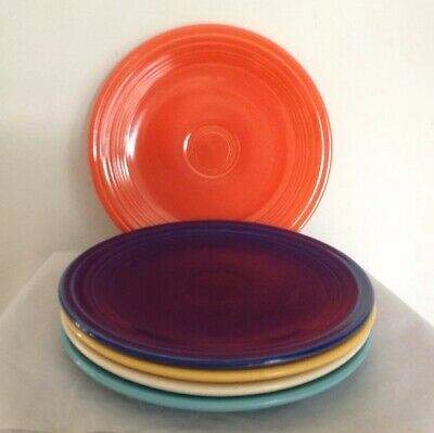 """Lot 5 Vintage FIESTAWARE 9.5""""W Dinner Plates Blue Red Yellow Turquoise FIESTA"""