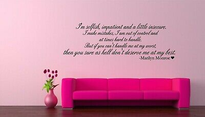 Wall Decal Sticker Quote Marilyn Monroe I/'m Selfish and a Little Insecure J78