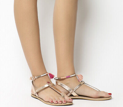 9de66f6f786 Womens Office Salsa Tassel Ankle Strap Toe Post Sandals Rose Gold Leather  Pink T