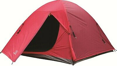 Highlander Birch 3 Tent Red 3 Person Double Skin Camping Festival Family Small