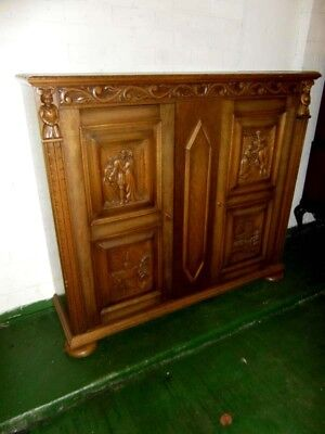 Gothic Carved Oak Hall Cupboard