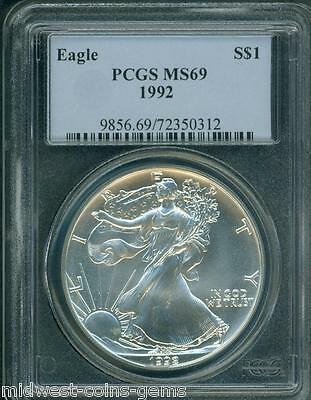 1992 American Silver Eagle ASE S$1 PCGS MS69 MS-69 Premium Quality BEAUTIFUL