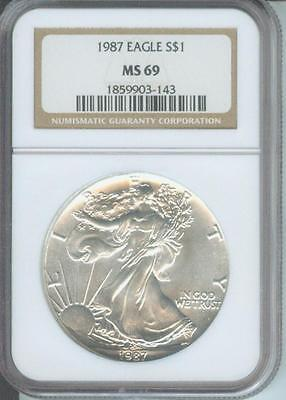 1987 American Silver Eagle ASE S$1 NGC MS69 Premium Quality BEAUTIFUL PQ P.Q.