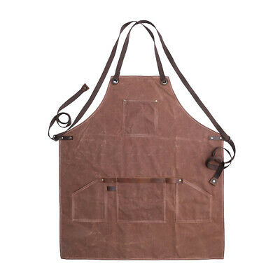 Heavy Duty Waxed Canvas Work Apron with Pockets Adjustable Cross-Back Straps