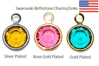 Swarovski Birthstone Charms Links Rose Silver Gold Plated 4 6 8mm Assorted Sizes