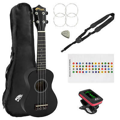Black Soprano Ukulele Kit Beginners Pack
