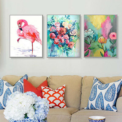 AU_ Watercolor Flamingo Flower Canvas Wall Painting Poster Picture Home Decor Ey