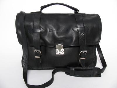 e848859b06a30 Roots Canada Black Leather Briefcase Over Shoulder Messenger Tote School Bag