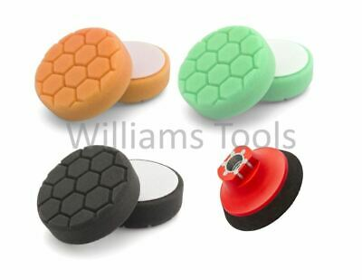 "Flexipads 3 x Hex Logic 100mm 4"" SPOT & M14 Backing Pads Kit Orange Green Black"