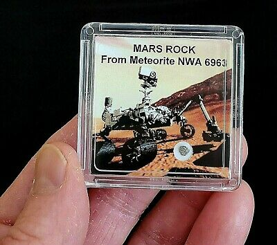 DELUXE EDITION- AUTHENTICATED MARTIAN METEORITE- 12mg Mars Rock Display+Easel  r