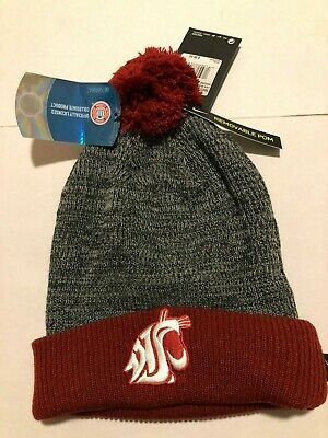 d2a8aec2c14 NIKE Washington State Cougars Cuffed Knit Hat Beanie Removable Pom Adult  NEW NWT